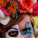 Woman with Butterfly Rose Crown for Dia de los Muertos