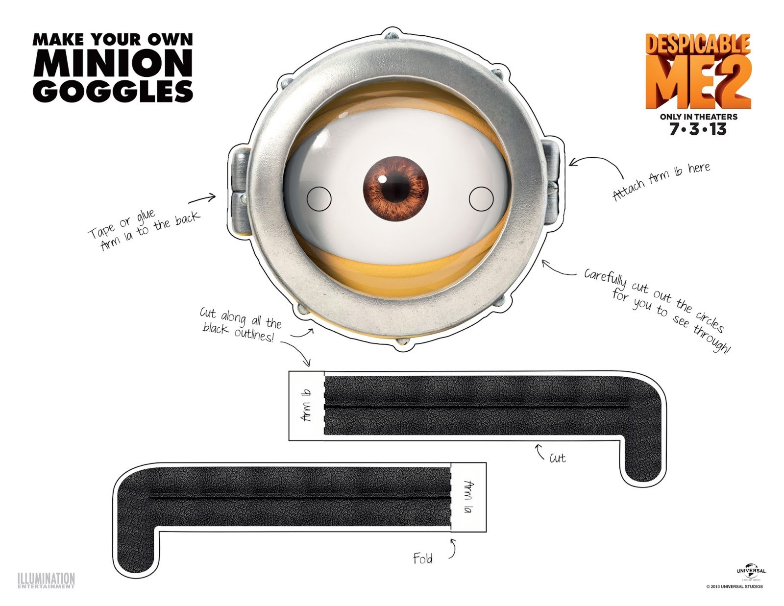 image regarding Minion Eye Printable identify 5 Very simple Strategies toward Deliver Minion Goggles or Gles
