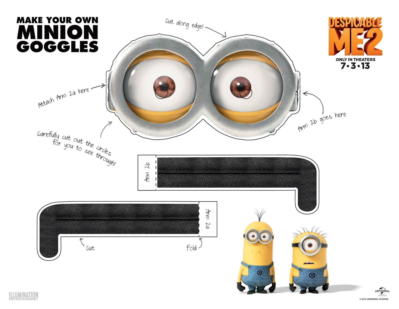 photograph regarding Minion Eye Printable identified as 5 Simple Strategies toward Crank out Minion Goggles or Gles
